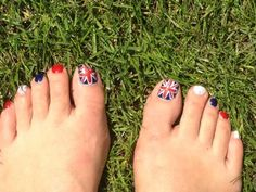 Patriotic Pedi care of Shades Nails with Jessica Custom Nail Colours.