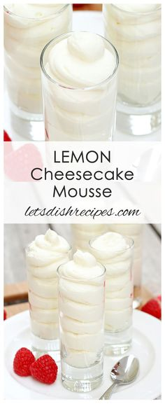 Lemon Cheesecake Mousse Recipe | This creamy lemon mousse is an easy but elegant dessert that's ready in about fifteen minutes! #cheesecake #nobake #mousse