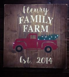 Wooden sign old truck Christmas tree light up