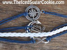 Compass Anchor Infinity Sign Bracelet Teen Girls Faux Dark Blue Leather Women Jewelry