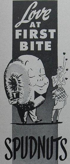 1940s SPUDNUTS doughnuts vintage illustration advertisement by Christian Montone, via Flickr