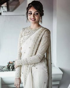 South Indian Blouse Designs for a Royal Bridal Look Sari Design, Lehenga, Anarkali, Sharara, Sabyasachi, Indian Wedding Outfits, Indian Outfits, Bridal Outfits, White Saree Wedding