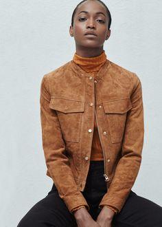 Blouson daim poches - Vestes pour Femme | MANGO