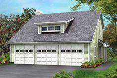 Craftsman Plan: 838 Square Feet, 1 Bathroom - 035-00857 Garage Apartment Floor Plans, Garage House Plans, Garage Apartments, Best House Plans, Craftsman Bungalow Exterior, Garage Exterior, Garage Doors, Shed Dormer, Full Bath