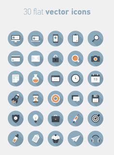 30 free flat circle vector icons