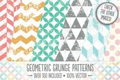 Geometric Grunge Patterns by The Artifex Forge on @creativemarket