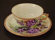 Antique TEA CUP SAUCER Plate Germany Violets  Handpainted Signed gilding serrated texture 1920'S Porcelain