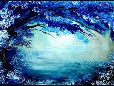 Painting tree in blue and white acrylic colors over it's beautiful reflection in lake. - YouTube