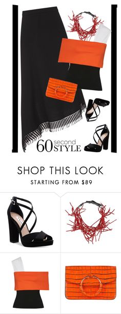 """""""Red/Black/White"""" by petalp ❤ liked on Polyvore featuring Roland Mouret, Nina, Brunello Cucinelli, Rosetta Getty, asymmetricskirts and 60secondstyle"""