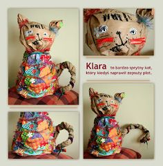 Animals from paper bags covered with fabric and yarn - 3D Sculptures.