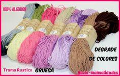 La TRAMA RÚSTICA es un material 100% algodón, novedoso en el mercado y muy utilizado ya para confeccionar todo tipo de trabajos. Además, disponemos de una gama de colores degradados. ¡Os encantarán! http://www.hazlo-manualidades.com/index.php?option=com_virtuemart&view=productdetails&virtuemart_product_id=17706&virtuemart_category_id=1626