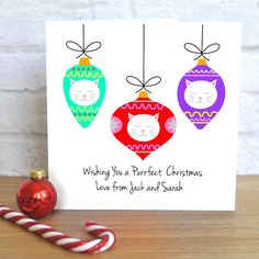 Frida Baubles Personalised Christmas Card