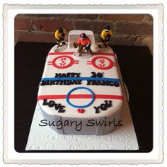 Hockey rink themed birthday cake created by Sugary Swirls Sports Themed Birthday Party, Themed Birthday Cakes, Birthday Parties, Custom Birthday Cakes, Swirls, Hockey, Party Ideas, Create, Anniversary Parties
