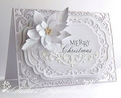 Sasha's Inspirations: White On White Christmas Sparkle—Spellbinder's Elegant Labels dies & Poppystamps' Blooming Poinsettia diesgorgeous white on white handmade card from Sasha's Inspirations . layers of lacey spellbinders dies .Read information on Christmas Cards To Make, Xmas Cards, Handmade Christmas, Holiday Cards, Diy Christmas, Merry Christmas, Winter Karten, Poinsettia Cards, Spellbinders Cards