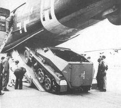Junkers Ju 290 long-range transport, maritime patrol aircraft & bomber #Luftwaffe #Wehrmacht A Sd.Kfz 250 half-track being loaded.