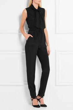 Vanessa Seward | Boulogne pussy-bow silk crepe de chine jumpsuit | NET-A-PORTER.COM