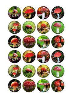 Champignons rouges feuille de Collage par MobyCatGraphics sur Etsy
