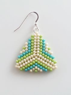 Beige, Green And Blue Beaded Triangle Earrings, Peyote Stitch Earrings