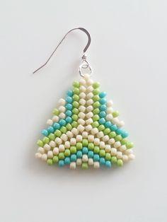 Beige, Green And Blue Beaded Triangle Earrings, Peyote Stitch Earrings