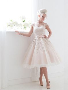 Frosty Pink Modest Retro Tea Length Wedding Dress | JoJo's Shop