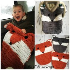 Fox & Wolf Car Seat Cozy pattern by MJ's Off The Hook Designs