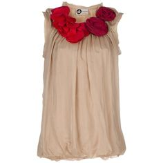 Rosette-embellished silk top ❤ liked on Polyvore