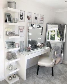 Glam Beauty Room Vanity Decor Penteadeira Bedroom Decor For Beauty Room Ideas Room Ideas Bedroom, Bedroom Inspo, Bedroom Desk, Mirrored Bedroom, Bedroom Mirror With Lights, Bed Room, Diy Bedroom, Bedroom Ideas For Small Rooms Diy, Bedroom Mirrors
