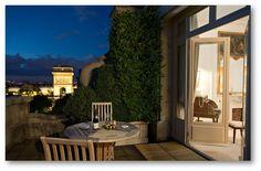 The Arc de Triomphe Suite charming terrace overlooks the Arc de Triomphe.