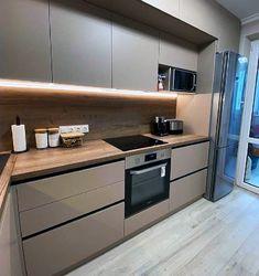 Kitchen Sets, Living Room Kitchen, Home Decor Kitchen, Kitchen Furniture, Home Kitchens, Kitchen Shelf Design, Modern Kitchen Cabinets, Modern Kitchen Design, Interior Design Kitchen
