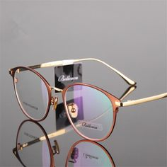 ea25cb577f10 Buy Titanium Glasses Round Myopia Glasses Prescription Glasses Men Women  Eyeglasses High Quality Two-tone Cat Eye Glasses 950