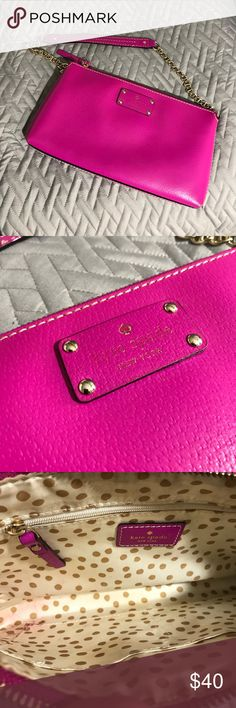Kate Spade Wellesley Bag This is one of my earlier Kate Spade bags. The color is awesome and the condition is good (minus some minor stains inside- pictured). The logo on the front is faded so the price reflects this. Still has care card and original store tag. kate spade Bags Shoulder Bags