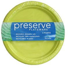 Preserve Plateware, Large, Pear Green, 8-Count Packages (Pack of 4) by Preserve. $32.34. Recyclable - #5 plastic. Reusable - dishwasher safe on low-heat cycles. Recycled - 100% recycled plastic, much of which comes from recycled yogurt cups. Whether entertaining guests or having a casual dinner with family, Preserve Plateware, made from 100% recycled plastic, will bring flair and elegance to any occasion.  These 10.5-inch sturdy plates have high rims that will help keep your f...