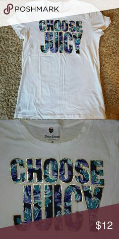 Juicy couture white tee  size medium White tee  wording outlined with gold metallic and floral print inside letters has glitter nwot Juicy Couture Tops Tees - Short Sleeve