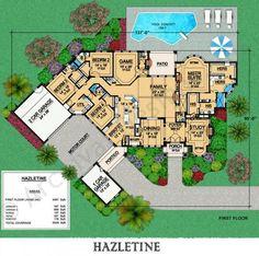 Hazletine House Plan - First Floor Plan - nice *** single garage is his workshop and 4th bedroom is her workroom.