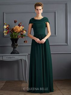 A-Line/Princess Scoop Short Sleeves Chiffon Pleats Floor-Length Dresses