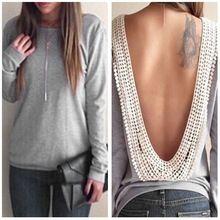New Hot algodão mulheres tops t-shirt blusas de renda sem encosto de manga comprida plus size roupas femininas outono e inverno tshirt tops brasão(China (Mainland))