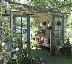 Check out this Recycled garden shed. I love how open it is More The post Recycled garden shed. I lo . Outdoor Rooms, Outdoor Gardens, Outdoor Living, Garden Cottage, Home And Garden, Garden Nook, Diy Garden, Garden Arbor, Old Garden Gates