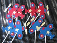 airplane cupcake toppers by OnceUponaScrap on Etsy