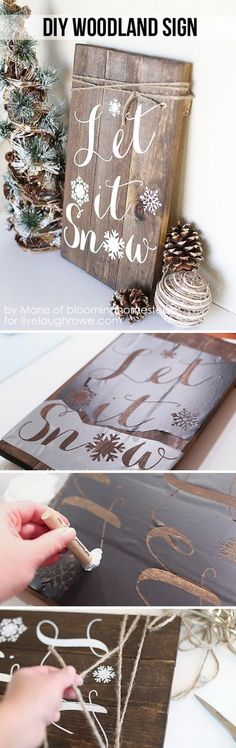 Cool DIY Rustic Christmas Decoration Ideas & Tutorials Let It Snow Sign. This Winter Woodland Sign looks so great on the porch or near the front door for the upcoming holiday. Noel Christmas, Christmas Signs, Rustic Christmas, All Things Christmas, Winter Christmas, Christmas Ornaments, Holiday Signs, Outdoor Christmas, Christmas Movies