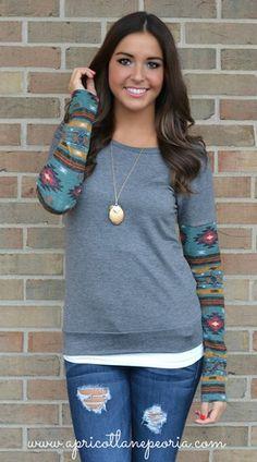 Aztec Sleeve Top, $35.00