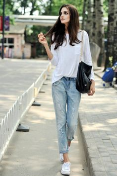Her long hair (not so much the jeans :)