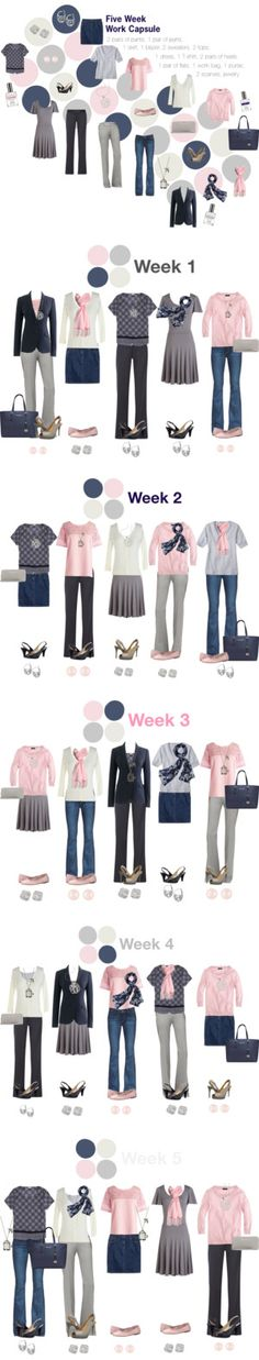 Work Capsule Wardrobe: Pink, Grey & Navy --- than links to other cool sets Mode Outfits, Casual Outfits, Fashion Outfits, Womens Fashion, Fashion Bags, Capsule Wardrobe Work, New Wardrobe, Professional Wardrobe, Wardrobe Ideas