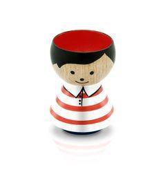 Red Striped Boy Bordfolk Eggcup