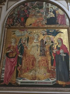 Matteo di Giovanni, St. Barbara Enthroned with Angels and Sts. Mary Magdalen and Catherine. Ss. Dominic and Catherine, Siena, Italy.