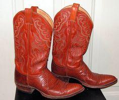 Vintage Cowboy Boots Justin Men's Size 9 9B Leather Lizard