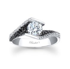Black Diamond Engagement Ring - 7879LBKW - A modern twist on a vintage bypass ring this solitaire engagement ring is a dazzler. The channel set round diamond center is captured in the split, rotated ridges, set with white diamonds while pave set black diamonds grace the inside shoulders of the shank for a stunning glamorous effect.   Also available in 18k and Platinum. .