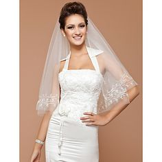 Elbow One-tier Wedding Veil With Cut Edge – USD $ 19.99
