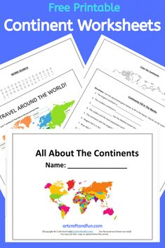 Free Printable Continents Worksheets for kids