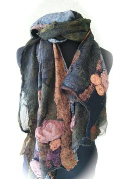 Nuno Felted Large scarf/Shawl SugarPlum by sugarplumoriginals, $300.00