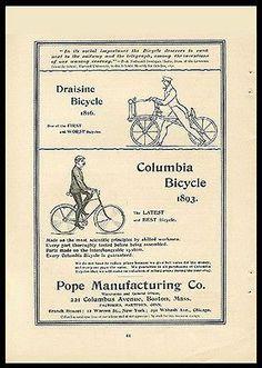 Columbia Bicycle 1893 Draisine Bicycle 1816 Pope Mfg. 1893 Print Ad Print Ads, Mixed Media Art, Ephemera, Columbia, Bicycle, Bike Stuff, Comics, Printables, Bike
